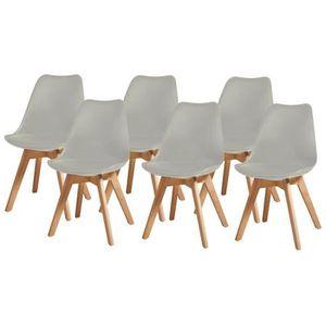 CHAISE BJORN Lot de 6 chaises pieds en Hêtre - Simili Gri