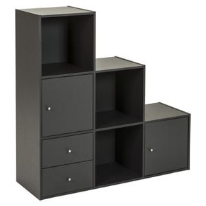 optima cube escalier 6 cases 2p et 2t 90cm gris achat. Black Bedroom Furniture Sets. Home Design Ideas