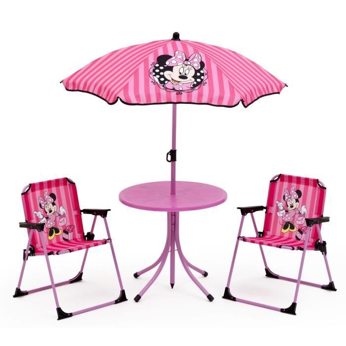 minnie ensemble de jardin camping enfant table 2 chaises et parasol achat vente salon. Black Bedroom Furniture Sets. Home Design Ideas