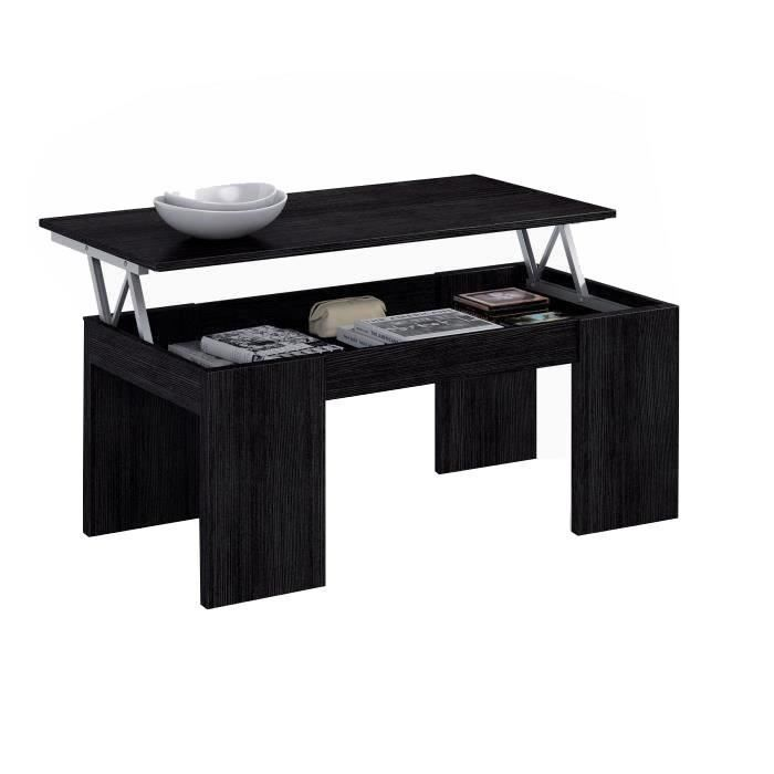 Kendra table basse plateau relevable noir achat vente for Table de salon escamotable