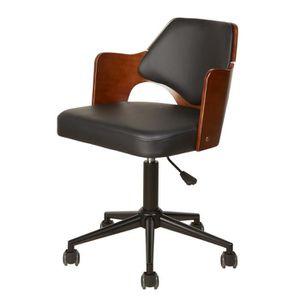 CHAISE DE BUREAU KIRUNA Chaise de bureau en simili noir - Accoudoir