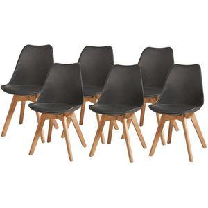 CHAISE BJORN Lot de 6 chaises pieds en Hêtre - Simili Noi