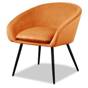 FAUTEUIL MILEY Fauteuil pieds métal - Tissu orange - L 67 x