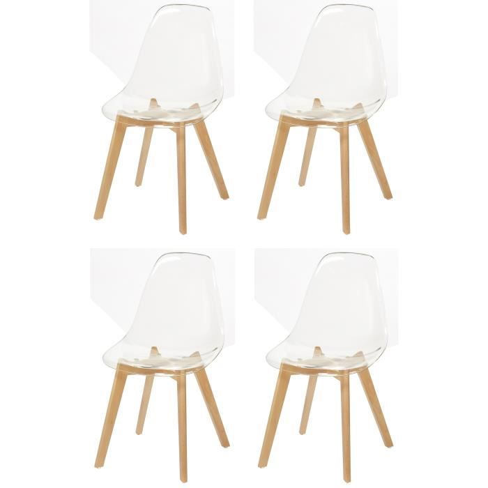 brooklin lot de 4 chaises de salle manger blanc - Chaise Polycarbonate Transparente