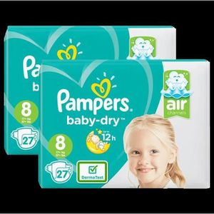 COUCHE Couches Pampers Baby-Dry Géant Taille 8 x27 - Lot