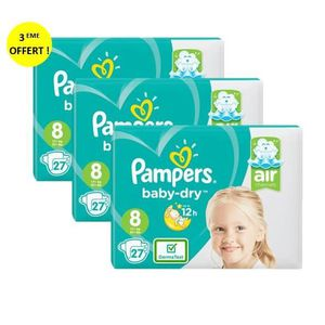 COUCHE Couches Pampers Baby-Dry Géant Taille 8 x27 x3