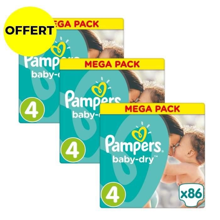 COUCHE PAMPERS Baby Dry Taille 4 - 8 à 16 kg - 258 couche