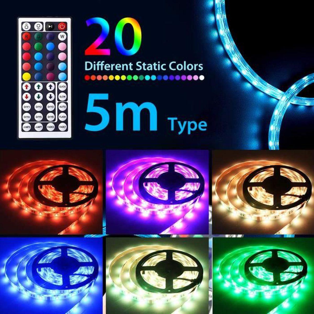 BANDE - RUBAN LED Kit de 5M Ruban LED RGB, Bande LED 12V 300LED Lumi
