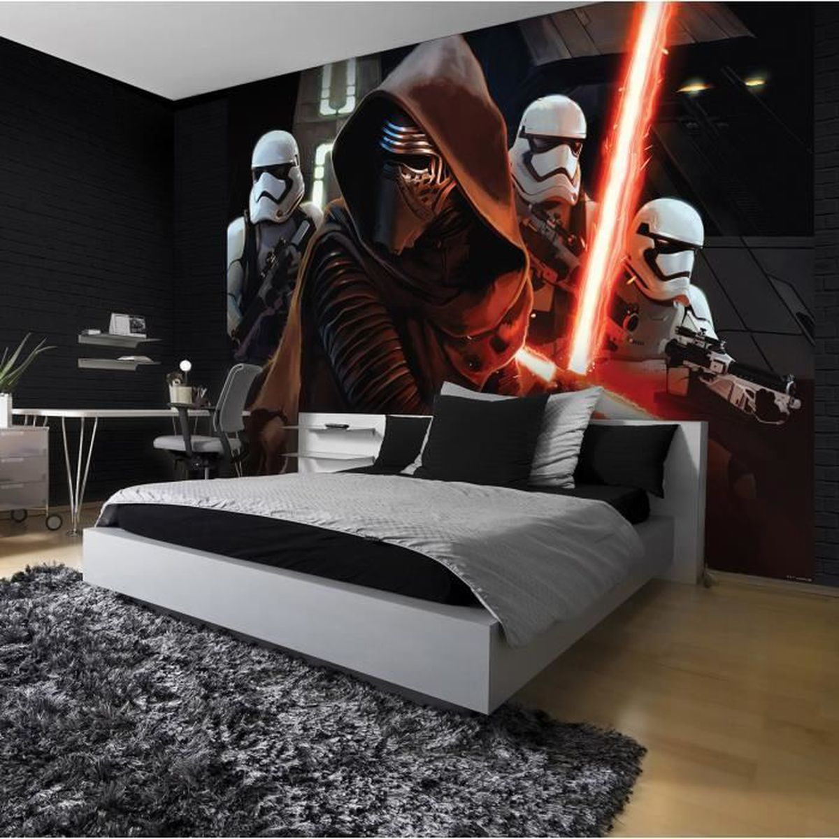 papier peint star wars 104 x 152 5 cm fresque murale le r veil de la force achat vente. Black Bedroom Furniture Sets. Home Design Ideas
