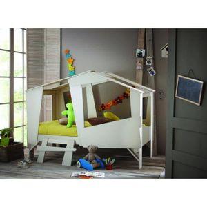 STRUCTURE DE LIT CABANE Lit enfant 90x200 cm - Taupe