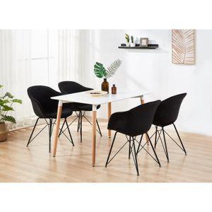 TABLE À MANGER COMPLÈTE Table à Manger Halo Blanche + 4 Chaises en Velours