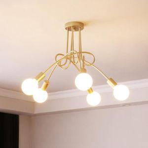 LUSTRE ET SUSPENSION 5 Tête Plafonnier lustre Vintage Led Lampe Doré In