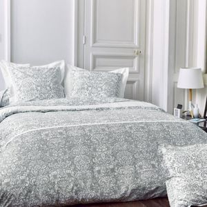 parure de lit 200x200 cm percale pur coton amboise gris 3 pi ces achat vente parure de drap. Black Bedroom Furniture Sets. Home Design Ideas
