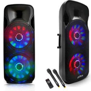 JEUX DE LUMIERE Enceinte mobile double boomer 1000W à LEDs + 2 Mic