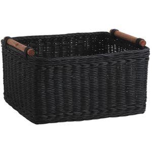 CASIER POUR MEUBLE Panier de rangement en rotin teinté noir, 23 x 18