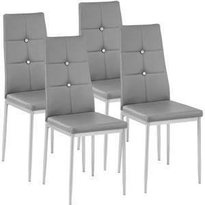 CHAISE TECTAKE 4 Chaises de Salle à Manger Design Cadre e