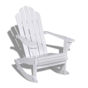 FAUTEUIL JARDIN  Fauteuil à bascule en bois chaise Blanc détendu Sa