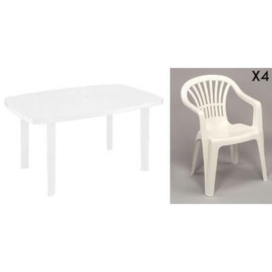 Table rectangulaire blanche + 4 fauteuils jardin plastique ...