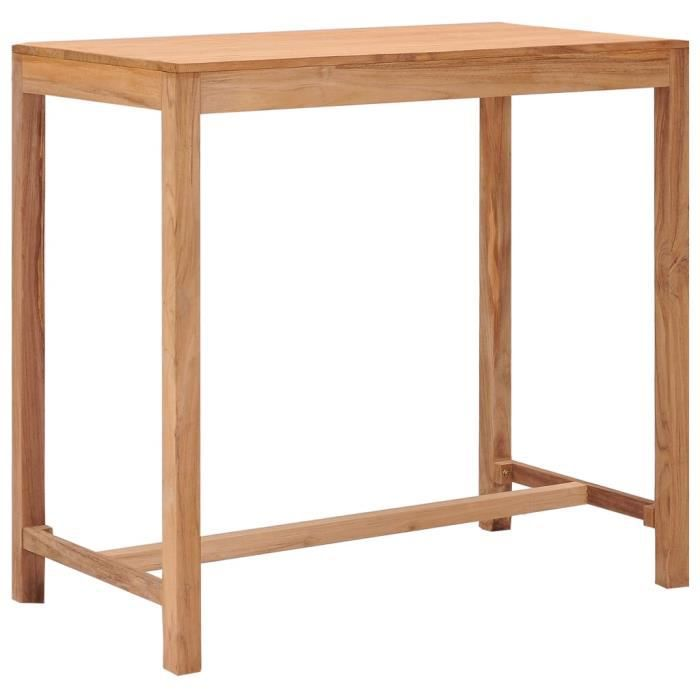 CESAR Table de bar de jardin 110x60x105 cm Bois de teck solide