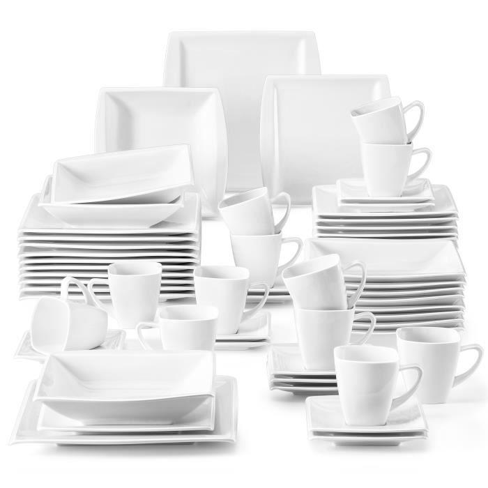Malacasa Série Blance 60pcs Service de Table Porcelaine 12 Tasses 12 Sous-tasses 12 Assiettes à Dessert 12 Creuses 12 Plates