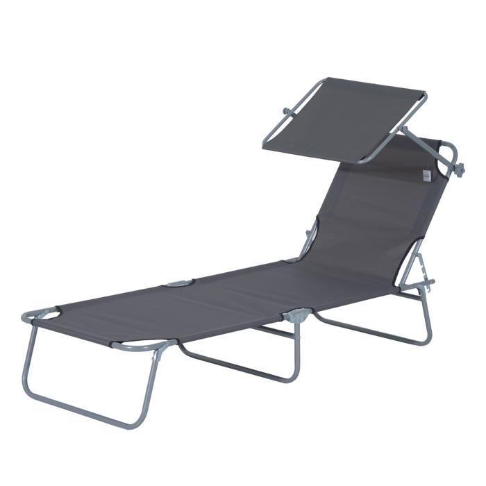 Transat bain de soleil pliable grand confort dossier et pare-soleil réglable multi-positions gris neuf 01GY