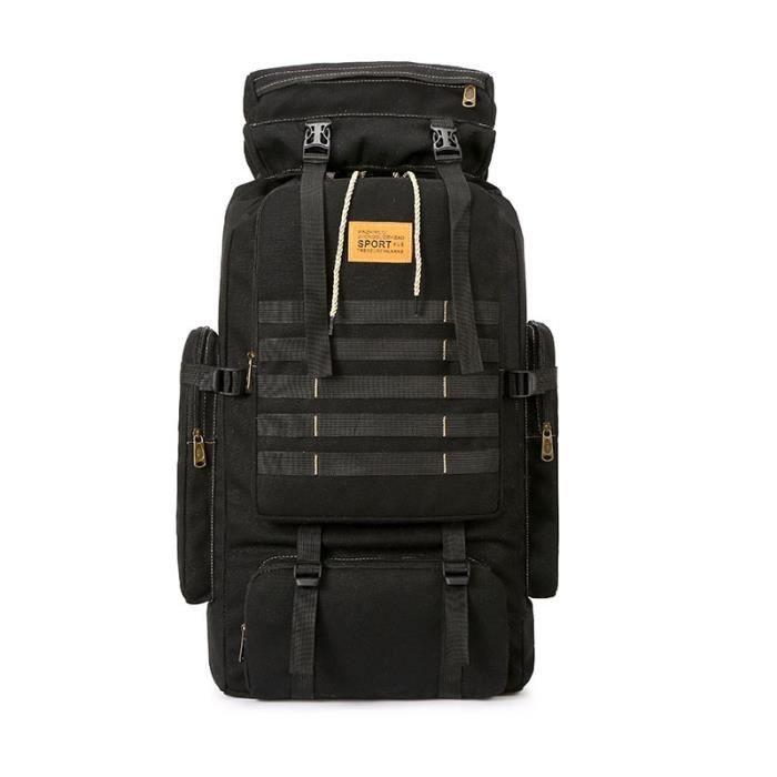 Black A -Sac à dos tactique militaire 80l pour hommes, sac à dos en toile pour voyage, escalade, Camping, randonnée, grand ordinateu
