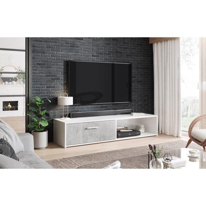 3xeLiving Meuble TV classique Ajsza, blanc / béton 140 cm