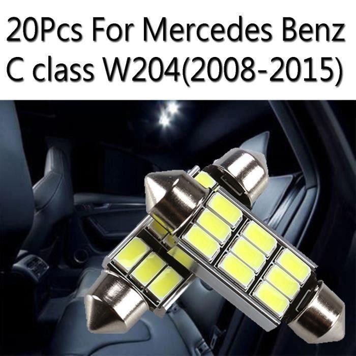U 20Pcs LED Ampoule Intérieur Voiture Décor Pour Mercedes Benz C class W204(2008-2015) ma61873