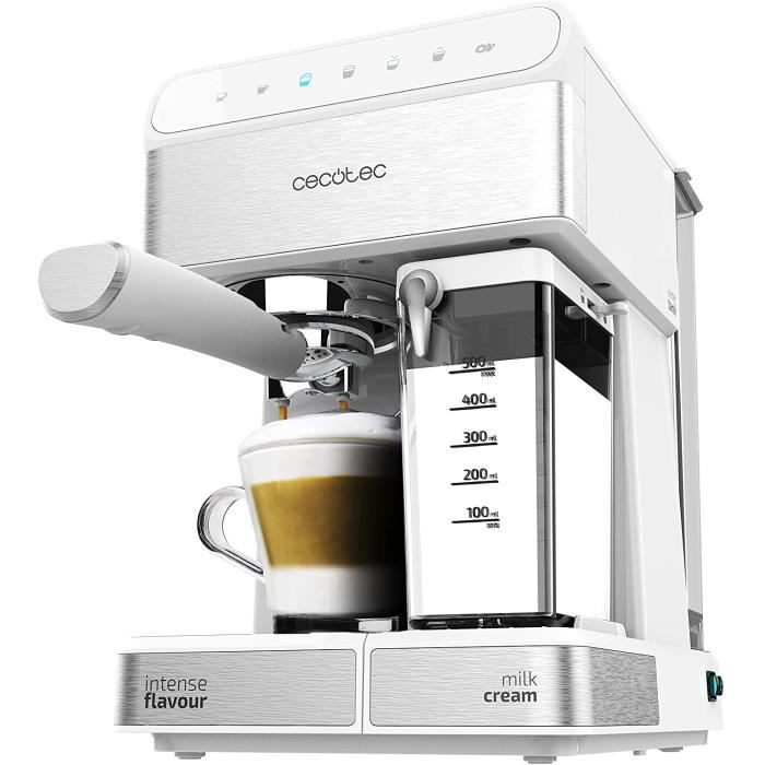 Cecotec Machine à café Semi-automatique Power Instant-ccino 20 Touch Serie Bianca. 20 bars de Pression, 1.4 L, 6 Fonctions, Chauffag