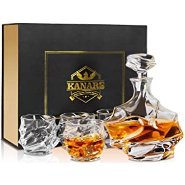 Carafe À Whisky, 750Ml Bouteille Avec 4X 320Ml Verre À Whiskey, Décanter Cristal, Belle Boîte Cadea, Lot De 5 Pièces
