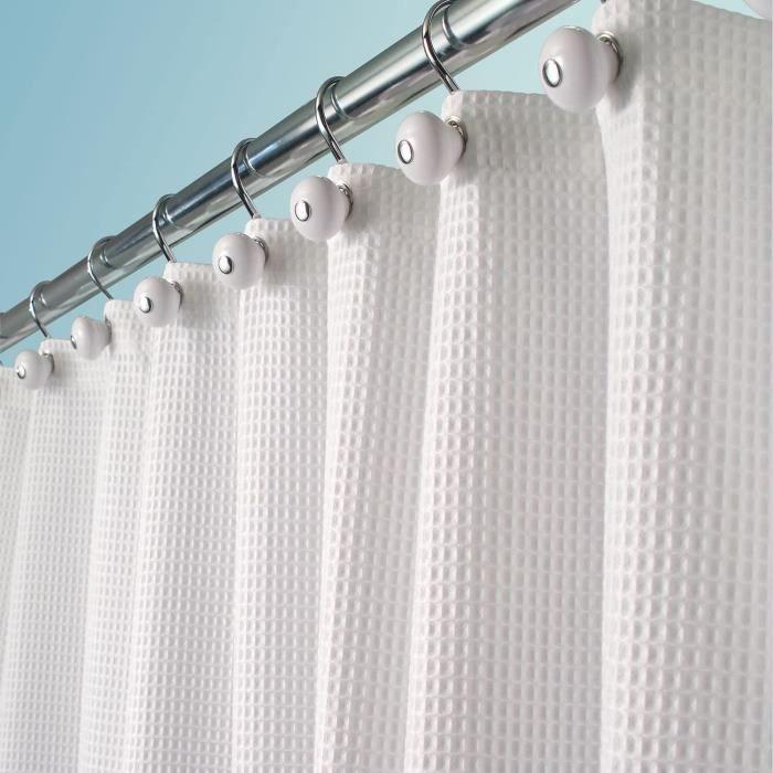 mDesign rideau de douche tissu de luxe – rideau de douche en coton et en polyester - dimensions : 180 cm x 180 cm – rideau baignoire