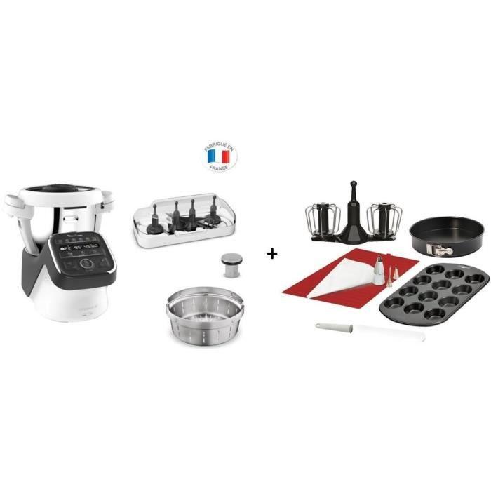 BUNDLE MOULINEX HF80C800 Companion XL Noir Robot Cuiseur Multifonction 3L, 12 programmes + Kit pâtisserie