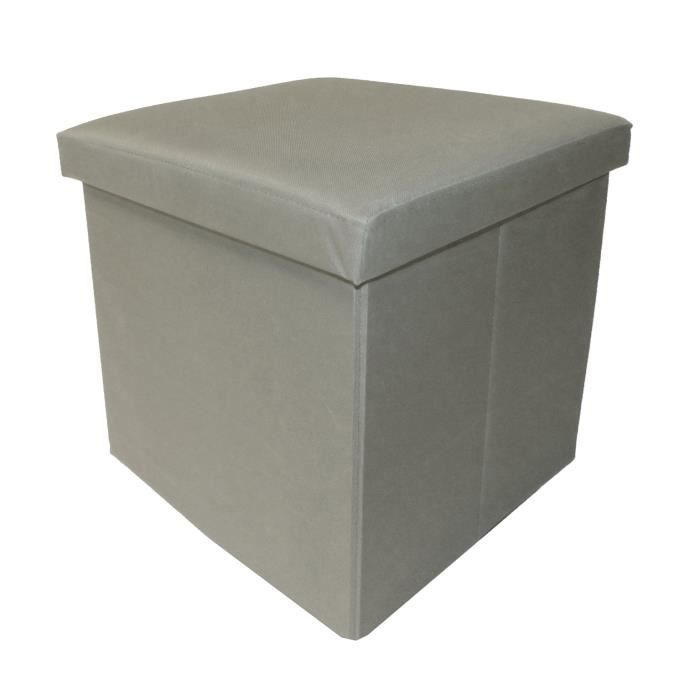 COTTON WOOD Pouf Coffre pliable Oxford - 35 x 35 x 35 cm - Taupe