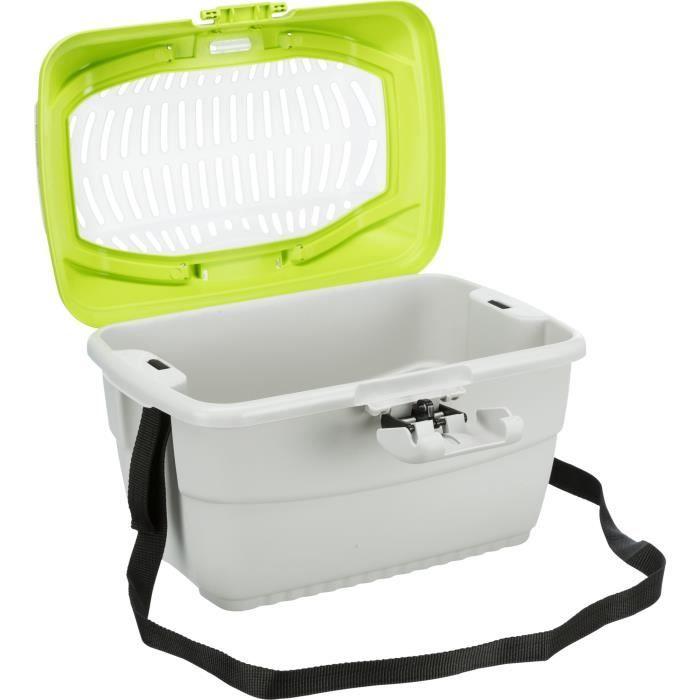 TRIXIE Box de transport Mini-Capri 40 × 22 × 30 cm gris clair/bleu pour rongeurs
