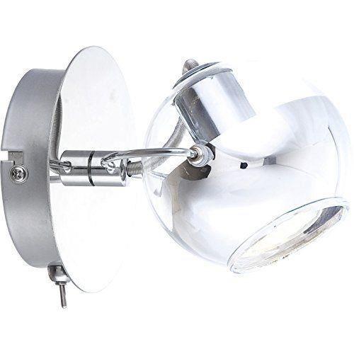 Spot chrome, boule de verre avec anneau chromé, LxH:140x125, incl. 1xGU10 DEL 3,5W 230V, chaud-blanc, 165lm, 3000K