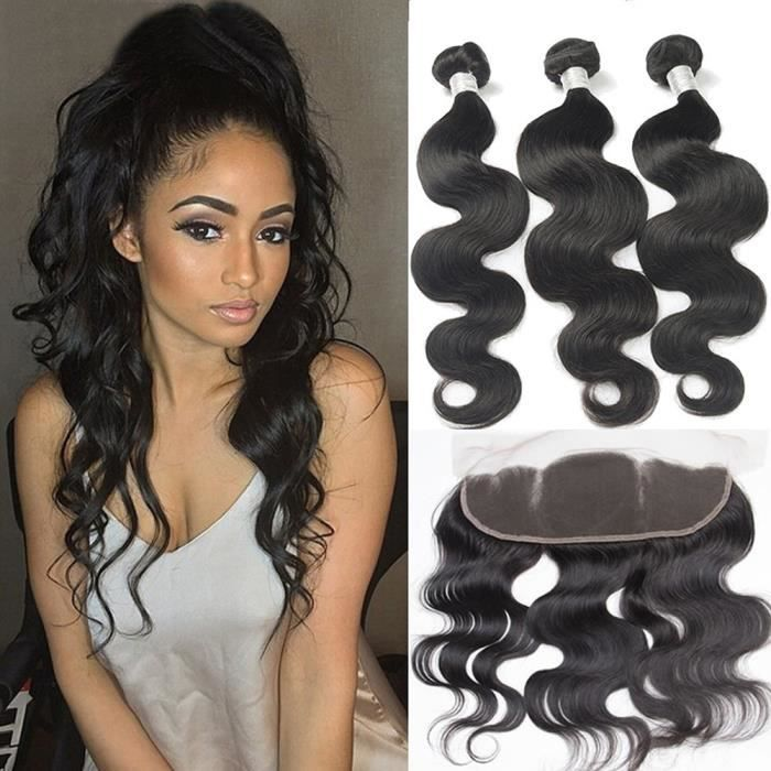 3 ps 14- Peruvienne cheveux humains natural tissage avec lace frontal 12- 13x4 closure body wave