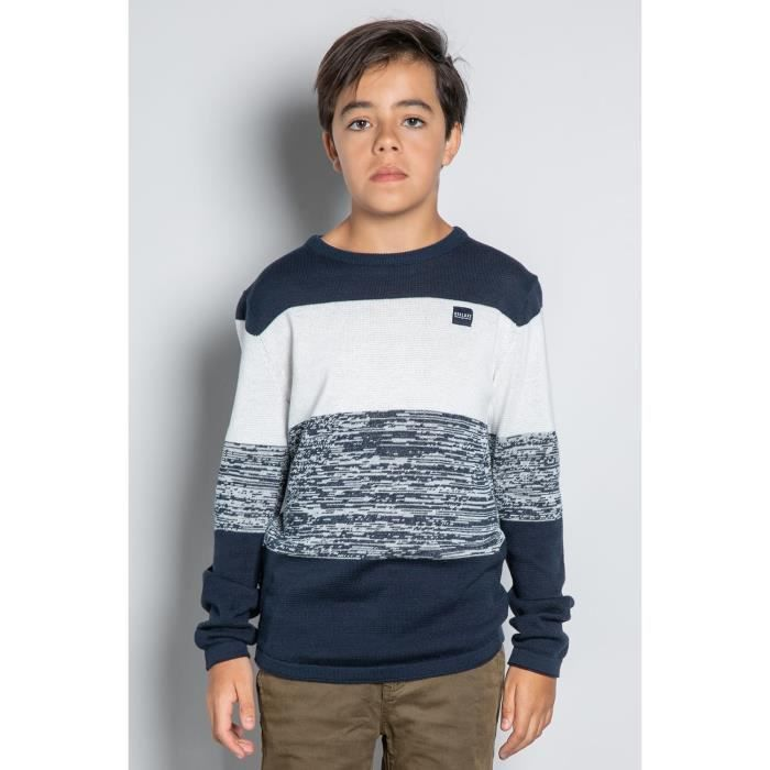 DEELUXE Pull chiné col rond TOKACHI Navy