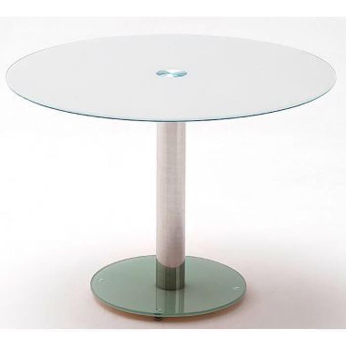 Table à manger en métal et verre de sécurité blanc - L.100 x H.77 x P.100 cm
