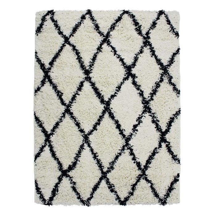 ETHNIC BERBERE - Tapis toucher laineux ethnique écru et noir 190x280