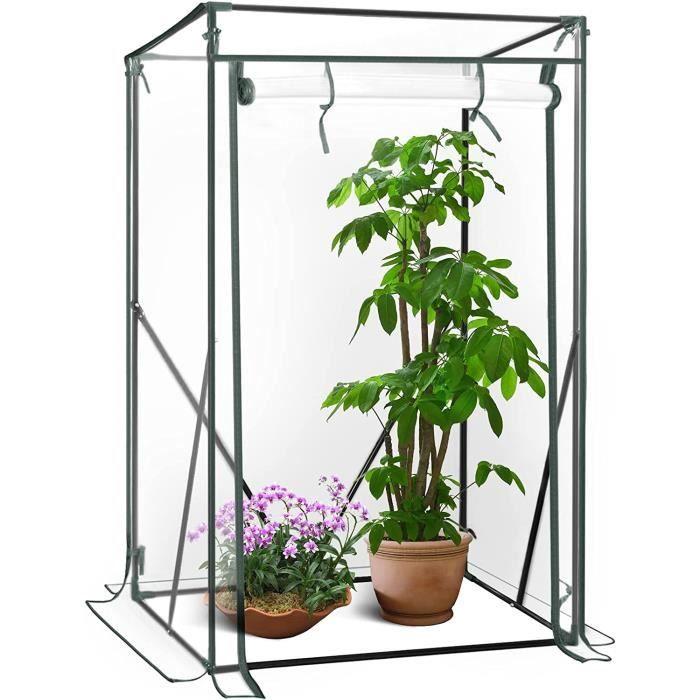 WOLTU Serre de Balcon-Jardin-Terrasse en PVC, Serre à tomate avec porte, Cadre en acier,Transparent, 100x50x150-136 cm