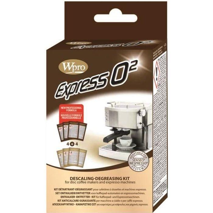WPRO KMC800 Kit détartrant et dégraissant Express pour cafetières à dosettes