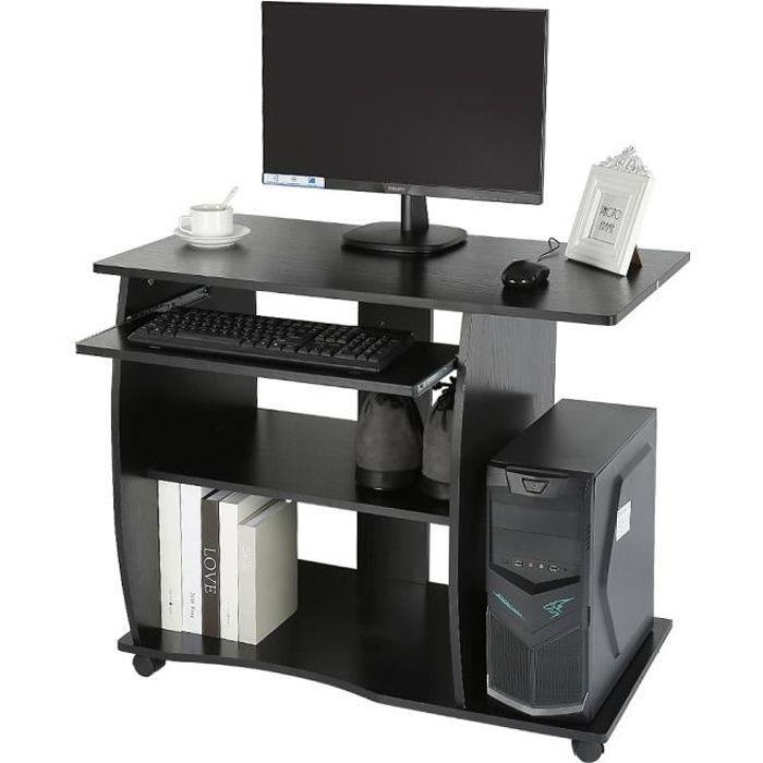 Bureau avec 2 /Étag/ère et 4 Roulettes Vendeur pro Bureau Informatique avec Tablette Coulissante pour Clavier