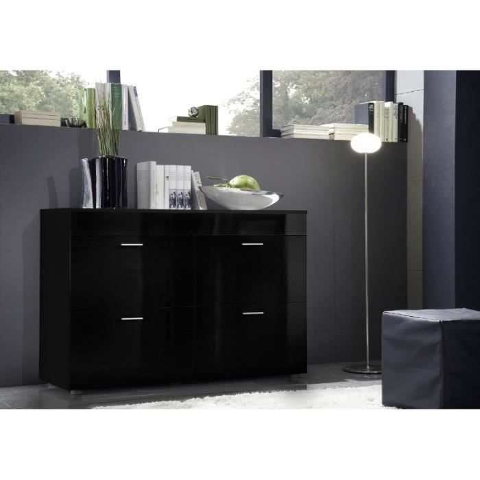 commode design logo noir laqu brillante meuble 4 portes 4 rangements id al pour salle de. Black Bedroom Furniture Sets. Home Design Ideas