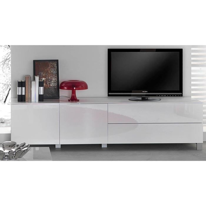 meuble tv moderne acia 311 b laqu blanc achat vente meuble tv meuble tv moderne acia 311. Black Bedroom Furniture Sets. Home Design Ideas