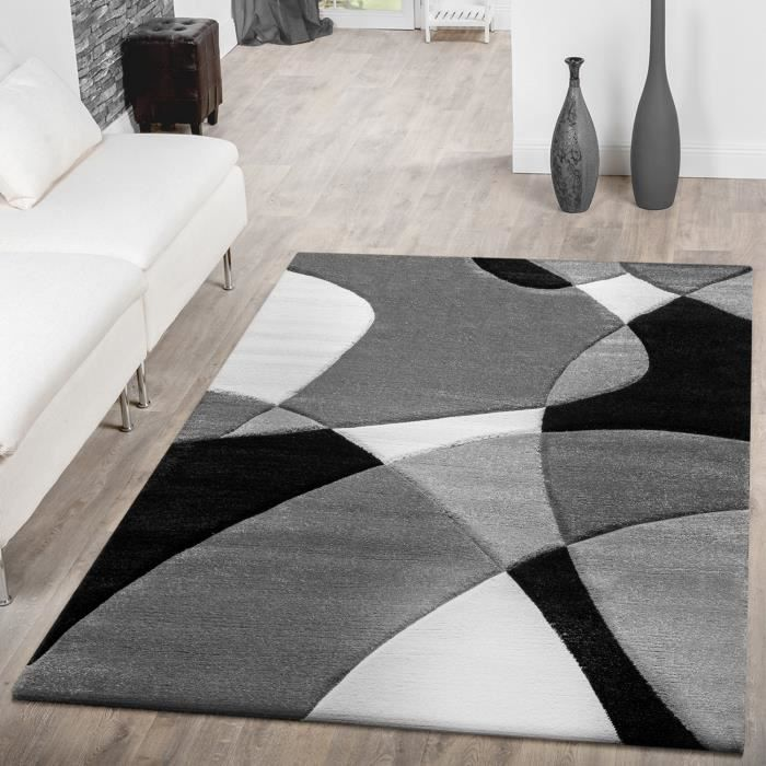 tapis moderne abstrait noir blanc 160x230 cm achat. Black Bedroom Furniture Sets. Home Design Ideas