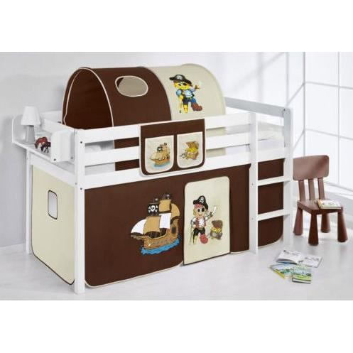 lit enfant mezzanine complet rideau et tunnel incl achat vente lit mezzanine lit enfant. Black Bedroom Furniture Sets. Home Design Ideas