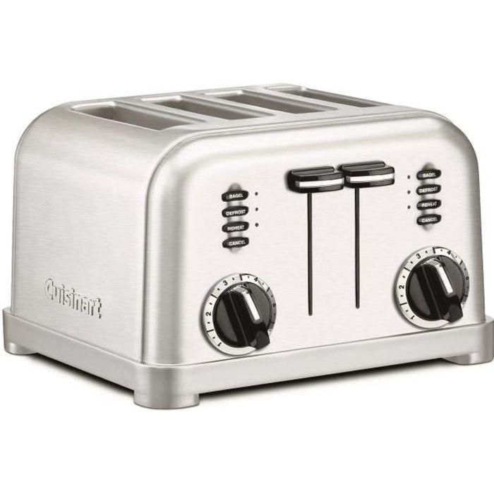 Cuisinart Toaster 4 Fentes Noir Acier Inoxydable plateau pain Bagel réchauffage décongélation