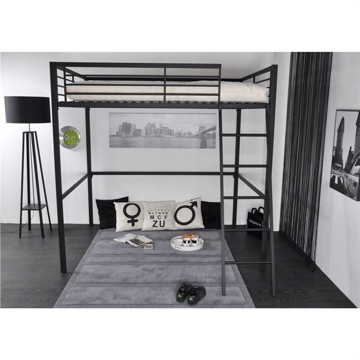 Lit mezzanine adulte grafik 140x190 anthracite achat for Lit mezzanine pour adulte