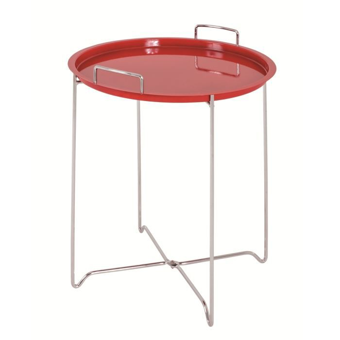 Table d 39 appoint jir chrom rouge achat vente table d for Table d appoint transparente