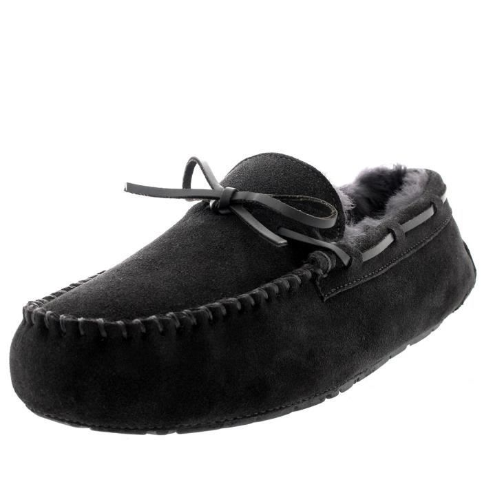 Mens Real Loafer Winter Moccasin Slippers T6GZM Taille-44 1-2 0AZKQ
